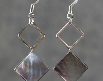 Square black abalone shell drop earrings Bridesmaids gifts Free US Shipping handmade Anni Designs