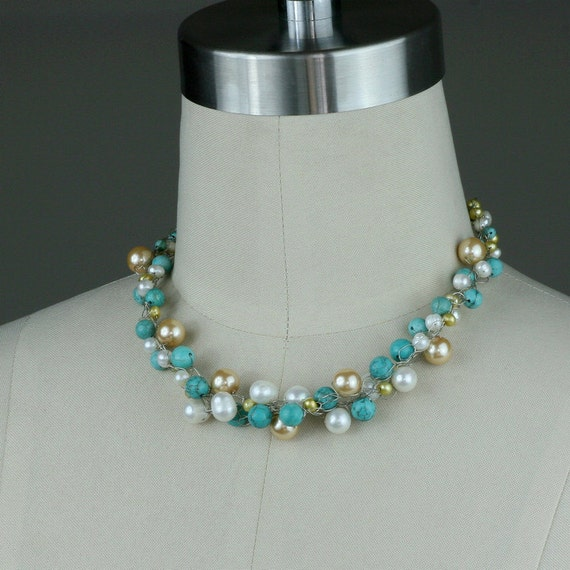 Chunky Pearl turquoise crochet wiring necklace Bridesmaids gifts Free US Shipping handmade Anni Designs