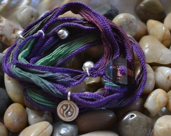 SALE! Hand Dyed Silk Yoga Bracelet with Sterling Silver Yin-Yang (Mixed Gems)