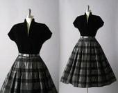 1950s Dress, 50s Dress, Velvet and Metallic Taffeta, The Tourmaline Vixen