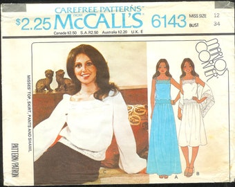 Vintage 1970's McCall's 6143  A Marlo Thomas Design Top, Skirt, Pants, and Shawl , Size 12 UNCUT