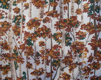 Birch Tree cotton fabric, leaves, fall colors