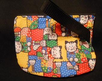 Make up bag or wipe holder,  black, gold plaid print