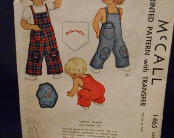 McCalls 1465 Toddlers overalls,  size 1