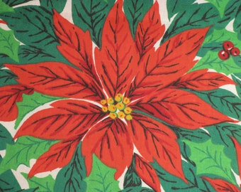 Vintage Cotton Fabric Christmas Large Poinsettia and Berries Print Material