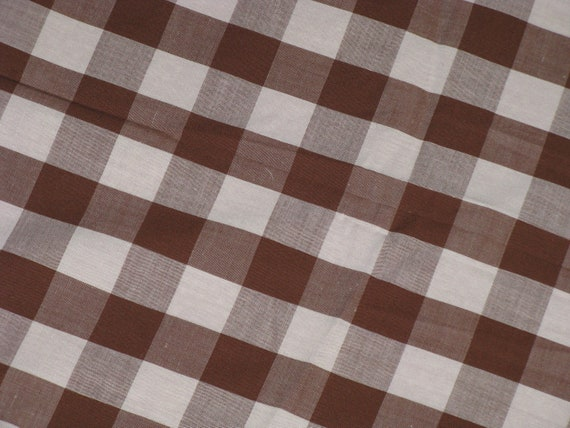 Vintage Fabric Cotton Gingham Large Squares Cocoa Brown and White Plaid - Scrap Lot Vintage 1950's Material