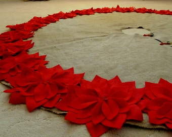 """72"""" Christmas Tree Skirt in a Natural Burlap with Red Hand cut Poinsettas around the perimeter. """"FREE SHIPPING"""""""