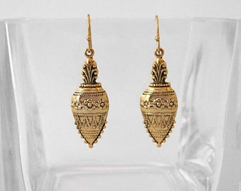 Victorian Etruscan Pineapple Dangle Earrings