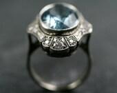 Aquamarine & Diamond Cocktail Ring