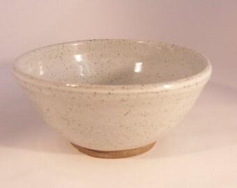 Breakfast bowl. With speckled white glaze. Ceramics stoneware pottery