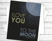I love you to the moon and back.  Grey Blue Yellow Vintage Distressed Nursery Print
