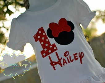 Minnie Appliqued and Monogrammed Birthday Shirt