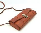 SALE - Vintage leather bag 70s