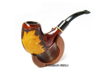New Gift Set - Wooden Leaf Pipe & Stand,  Tobacco pipe-Smoking Pipes -Tobacco Pipes of Pear, Wood Pipe Carving Handmade LIMITED EDITION PIPE