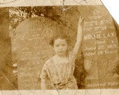 Sad Child at Gravestone- 1920s-30s Sepia Vintage Photograph