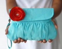 Aqua Red Purse Linen Clutch with red sateen flower - bridesmaid gift - wedding clutch