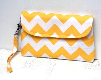 Yellow clutch, chevron clutch purse, zippered clutch