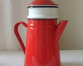 Vintage French red country enamel coffee pot.  Country cottage chic