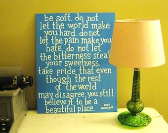 Beautiful Place - Kurt Vonnegut - Painted Quote Canvas - Gift - Blue