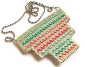Ombre geometric hand embroidered bib necklace in pastel pinks coral and mint greens