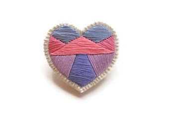 Pastel embroidered heart brooch with geometrics colorblock