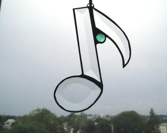 Stained Glass Suncatcher|Musical Note|Music|Beveled Glass|Aqua Glass Gem|Handcrafted|Made in USA