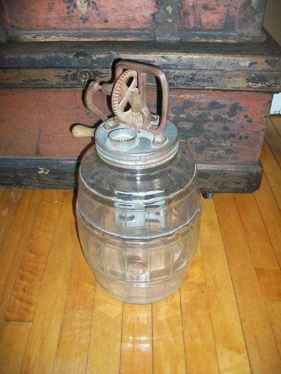 Vintage Glass Butter Churn Large Jar