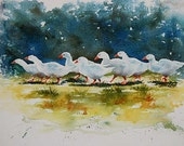 watercolor ORIGINAL Ducks on Parade duck farm bird watercolour