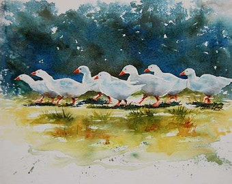 watercolor ORIGINAL Ducks on Parade duck farm bird watercolour