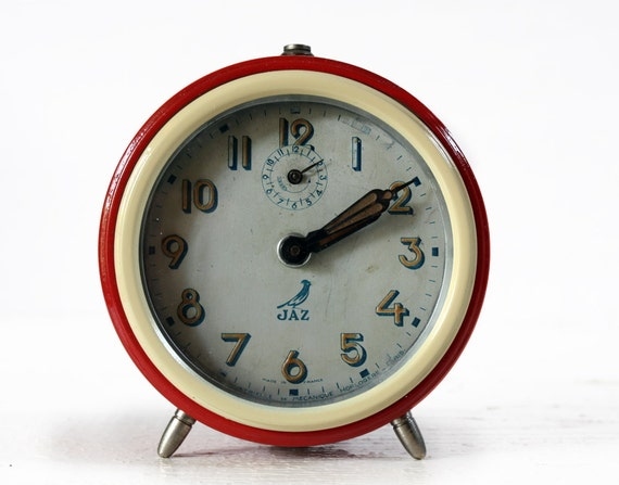 Lovely vintage French RED and Cream Metal Alarm CLOCK