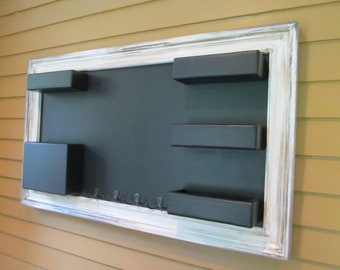 Chalkboard Mail Organizer Shabby chic Framed Large wall mounted pockets with key hooks