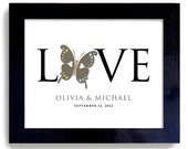 Love Butterfly Unique Wedding Gift Art Print Personalized for Couples