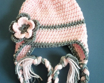 Children Crochet Hat, Crochet Earflap Hat,Toddler Hat, Baby Girl, Girl Hat,