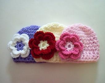 Set Of Three Baby Beanie Hats, Crochet Beanie Hat, Newborn Hat - Made to Order