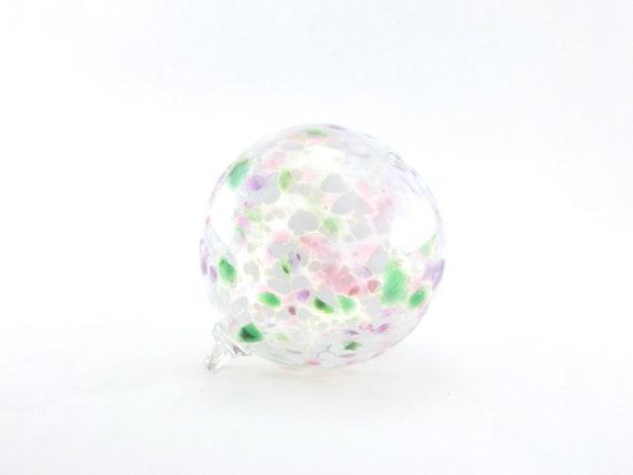 Hand Blown Art Glass Ornament - White, Purple, and Emerald Green - Sun Catcher