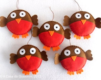 Set of 6 Christmas Robins - Christmas ornaments