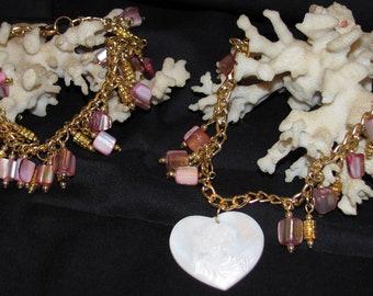 Pink Mother of Pearl Necklace & Bracelet (S032)