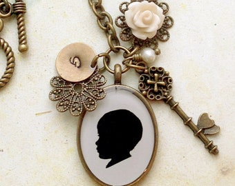 Custom Silhouette Pendant Necklace with Rose Cabochon, Brass Skeleton Key and Stamped Brass Charm