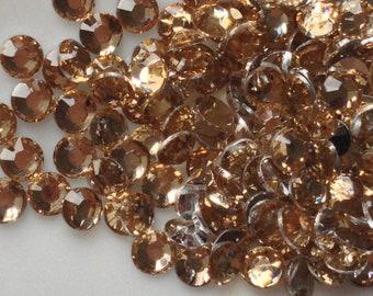 2 mm High Quality 14 Faceted Cut Resin Rhinestone Light Brown  Diamond (.cu)