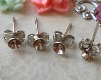 4 mm Platinum Plated Earring Posts With Earring Stoppers (.mn)
