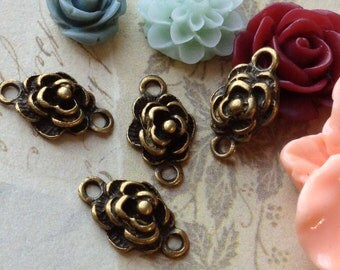 10 x 16 mm Antiqued Bronze Rose Charm Connector (.am).