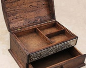 Personalized Rustic Jewelry Box, unique details and drawer. BIG SIZE