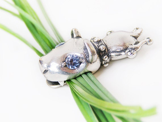 "Silver Amulet Pendant ""Bull Terrier"" with topaz eyes."