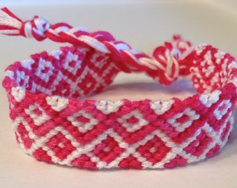 Pink & White Squares and Zig Zag - Friendship Bracelet