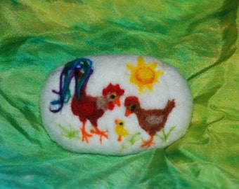 Felted Soap Rooster Hen and Chick Farm Animals Handmade
