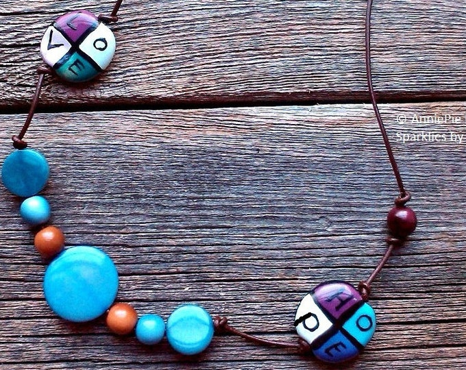 Love and Hope necklace - Tagua nut and word beads