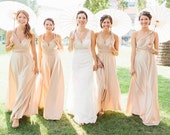 Natural Champagne Convertible, infinity, multi wear bridesmaid dress.  Made in the USA.  76 colors available in shiny and matte.