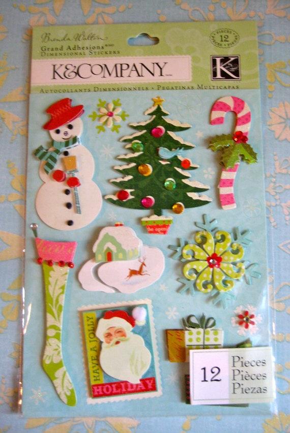 K& Company Brenda Walton Christmas Grand Adhesions Dimensional Stickers