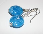 Earrings - Turquoise Blue Lampwork Beads - GlenmarcGifts