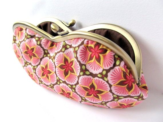Glasses case Pink sakura cherry blossoms with chocolate brown Frame purse